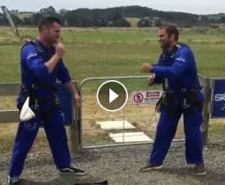 "Radio Hauraki's Matt Ward is jumped out of an airplane with a ""macgyvered"" parachute!"